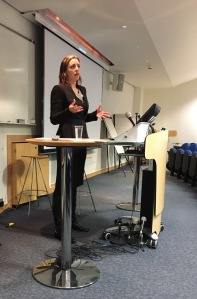 Emma Daykin speaking to students at BPP's Holborn campus